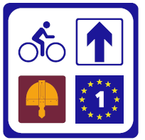 combination signs of norman way and Eurovelo
