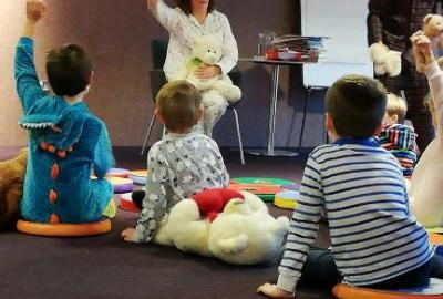 Image of bedtime storytime in the library