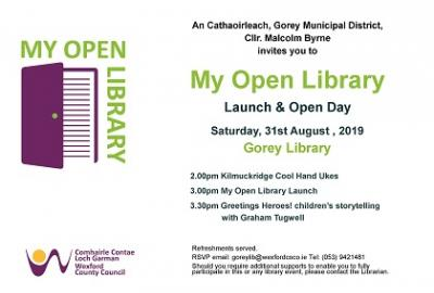 Image of invite for my Open Library Launch & Open Day in Gorey Library