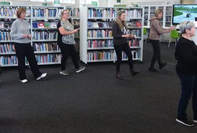 Line Dancing with Sarah Coady in New Ross library