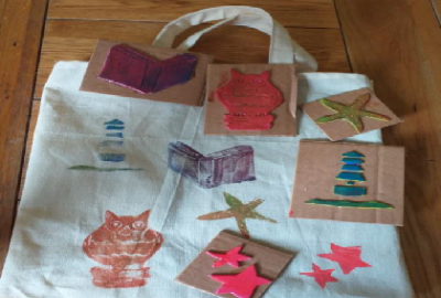 Printing Bags with Maeve Hunter in Gorey Library
