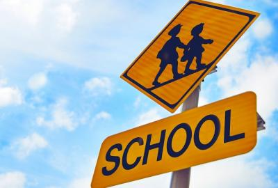 Image of School and Children Warning Road Signs