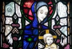Image by Harry Clarke of the Madonna in Bride Street Church workshop by Tony Walsh
