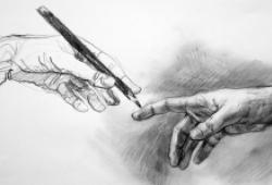 drawing of two hands